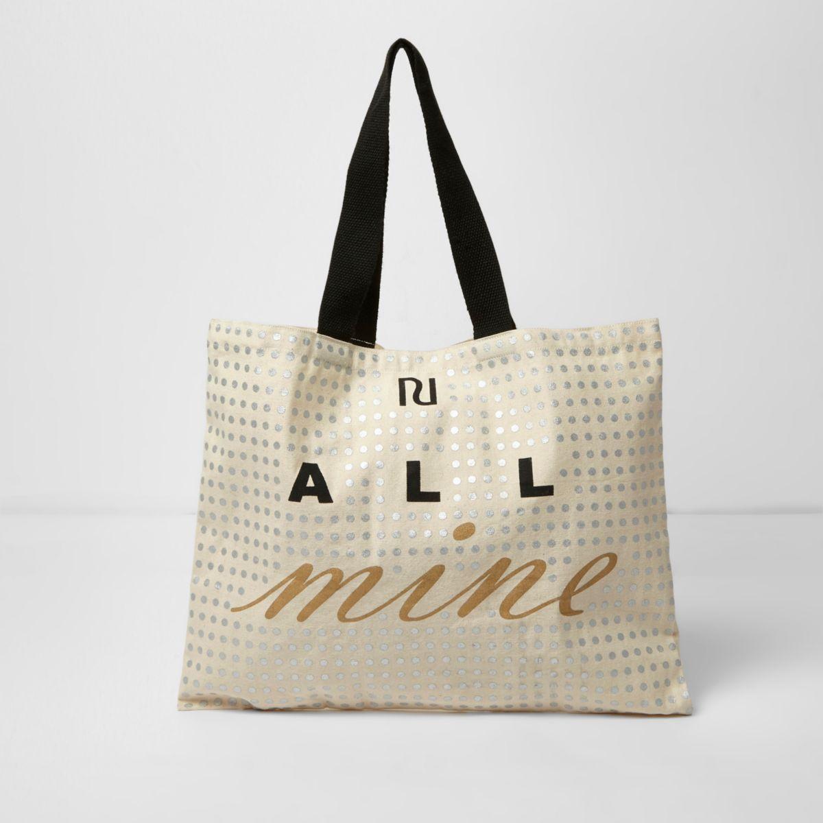 Beige 'all mine' foil print shopper bag