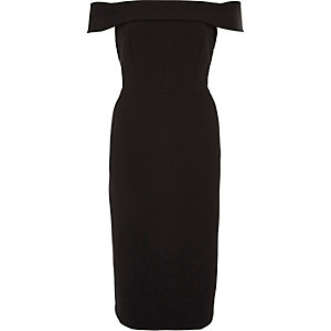 Black bardot frill back midi bodycon dress