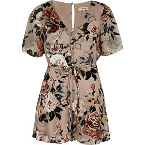 Beige floral devore tea dress playsuit