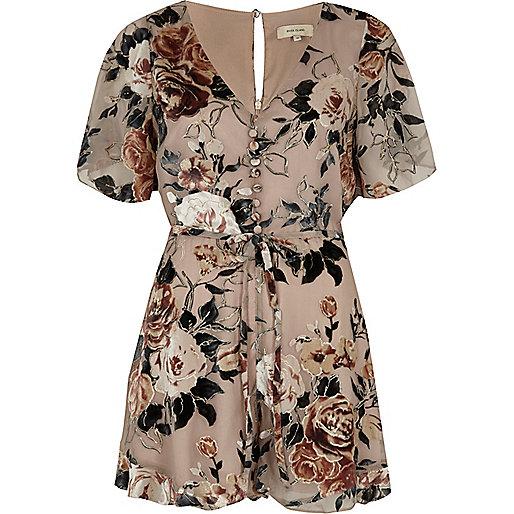 Beige floral devore tea dress romper