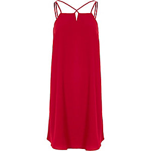 Red cross strap back slip dress
