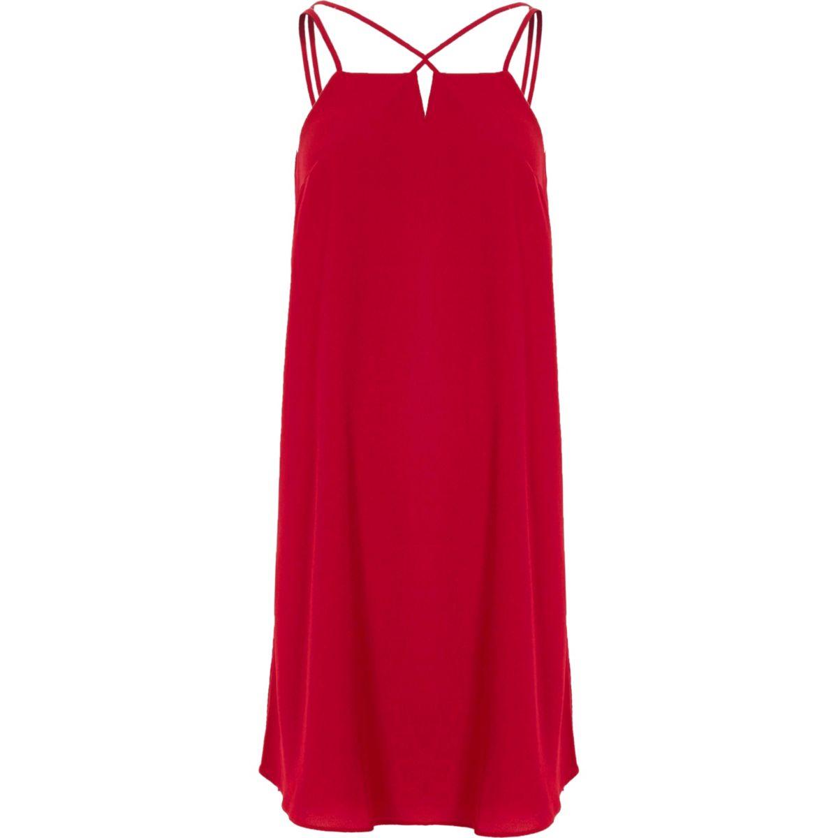 Red cross strap back slip dress