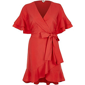 Red frill tie waist short sleeve tea dress