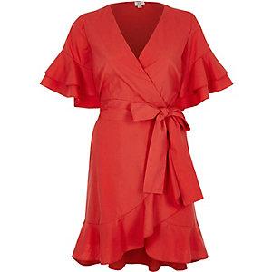Red frill tie waist short sleeve tea dress