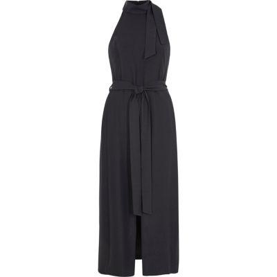 River Island Grijze hoogsluitende midi-jurk met strikceintuur