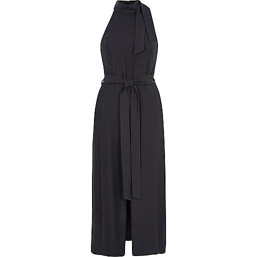 Grey high neck tie waist midi dress