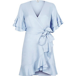 Blue frill tie waist short sleeve tea dress
