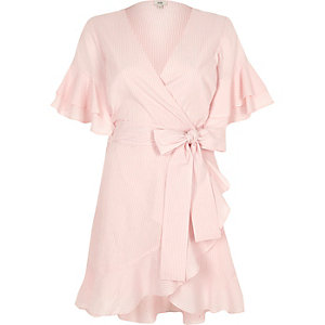 Pink stripe tie waist frill wrap tea dres