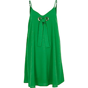 Bright green tie front slip dress