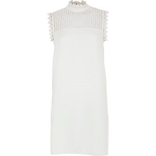 White lace sleeveless high neck swing dress