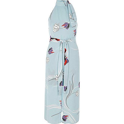 Blue floral high neck tie waist midi dress