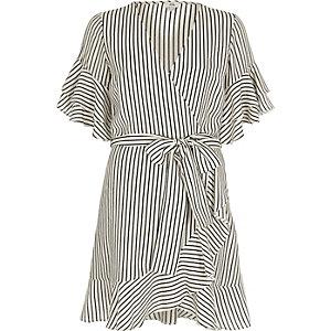 Cream and navy stripe frill sleeve tea dress