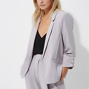 Petite grey ruched sleeve blazer