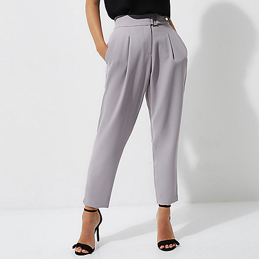 Petite grey tapered trousers