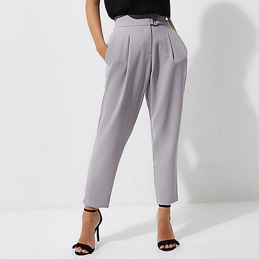 Petite grey tapered pants