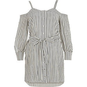 White stripe cold shoulder shirt dress