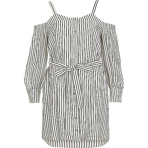 White stripe cold shoulder shirt dress