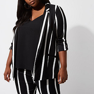 Plus black stripe fitted blazer