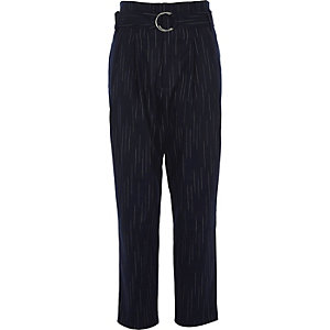 Navy stripe high waisted tapered trousers