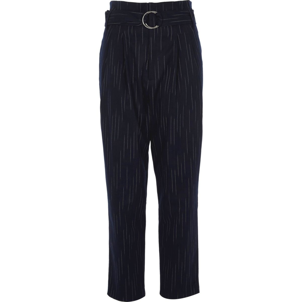 Navy stripe high waisted tapered pants