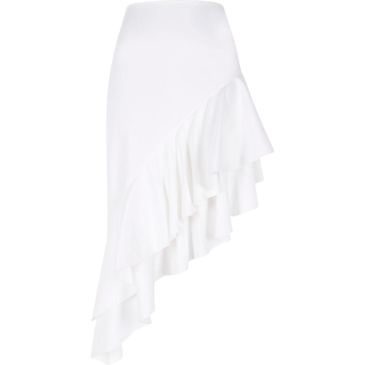 White asymmetric frill midi skirt