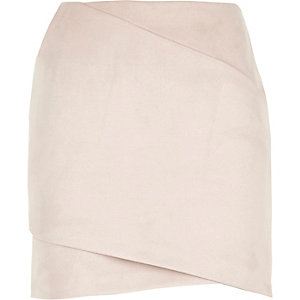 Light pink faux suede mini skirt