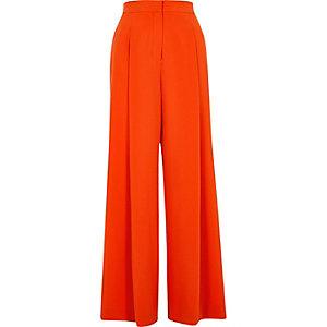 Red wide leg pants