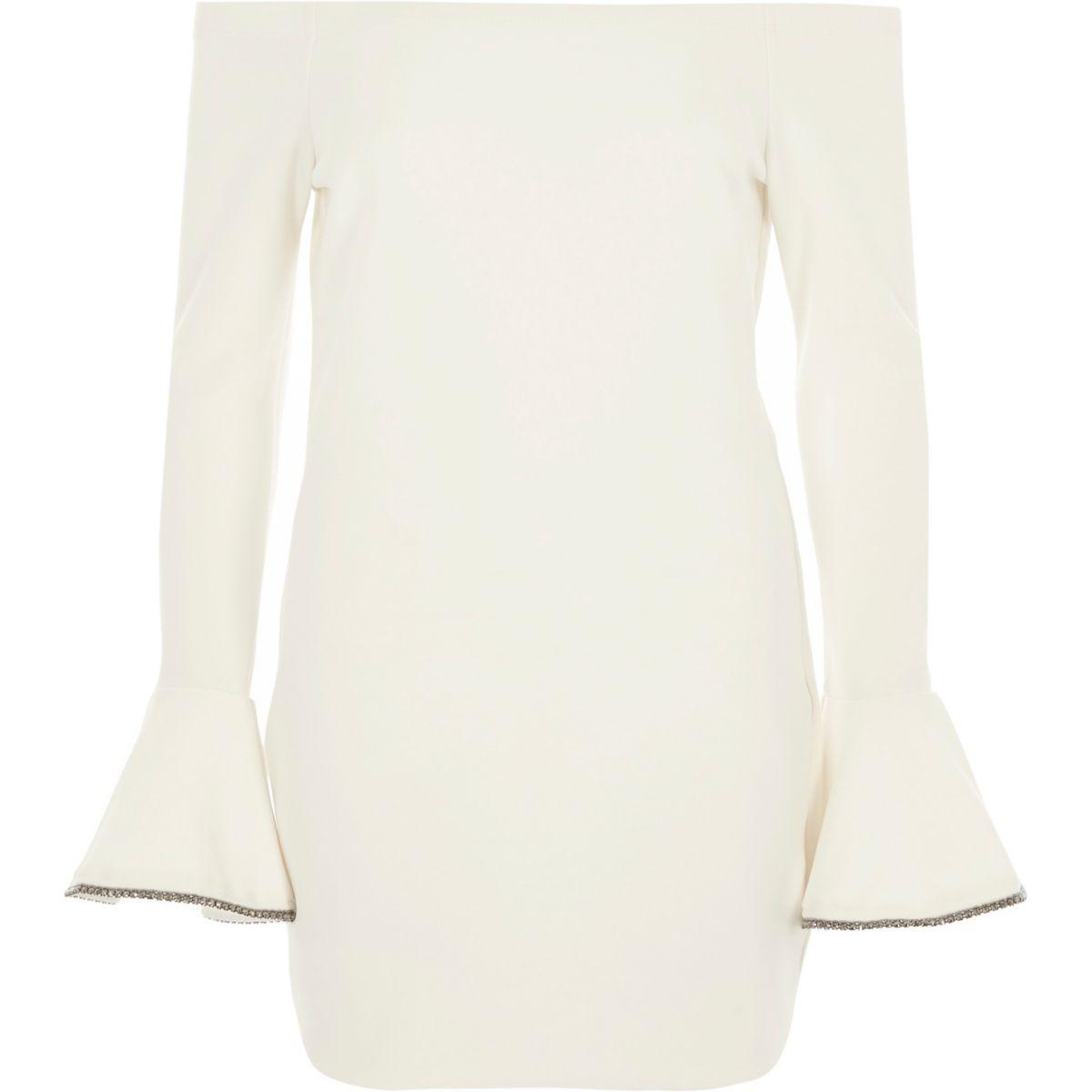 Cream rib bardot bodycon mini dress
