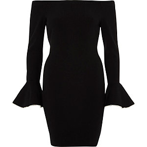 Black bardot frill cuff bodycon dress
