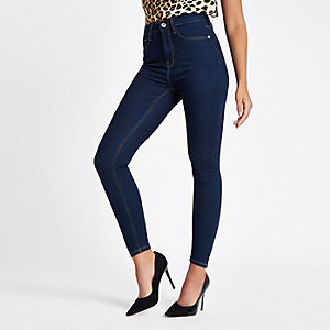 Dark blue high waisted Harper skinny jeans