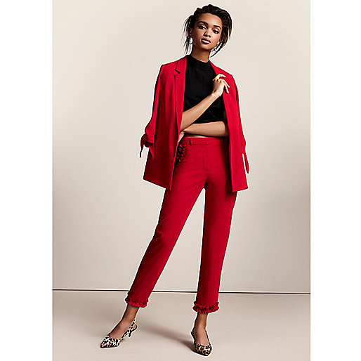 Red frill hem cropped straight leg pants