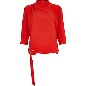 Red high neck D-ring hem top