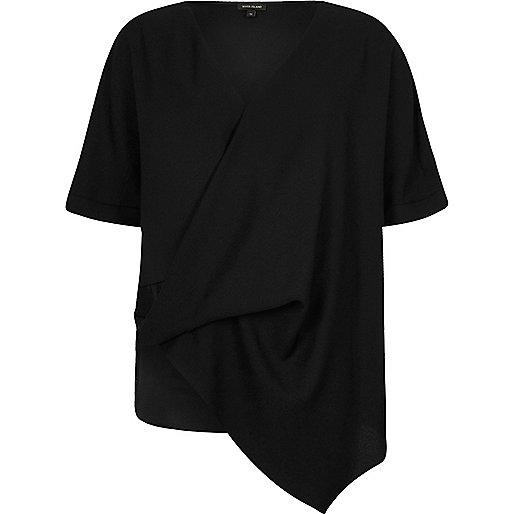 Black wrap front asymmetric hem T-shirt