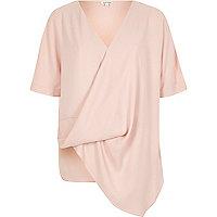 Pink wrap front asymmetric hem T-shirt