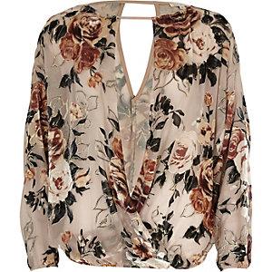 Cream burnout floral split sleeve top