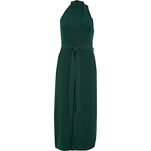 Dark green high neck tie waist midi dress