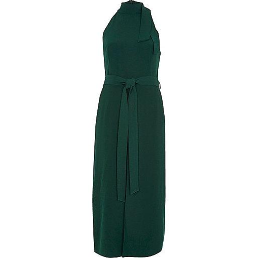 Dark green high neck tie waist midi dress