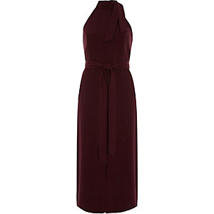 Dark red tie neck sleeveless midi dress