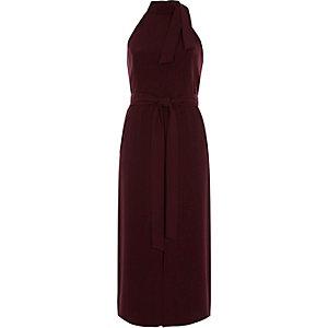 Donkerrode mouwloze midi-jurk met strik om de hals