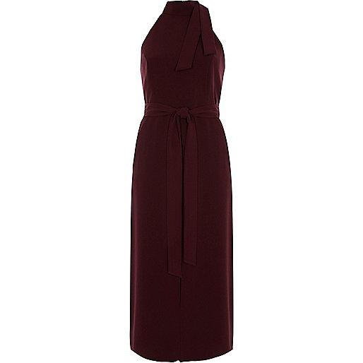 Dark red tie neck sleeveless midi dress