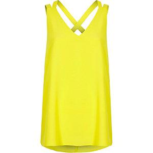 Top vert citron à bretelles doubles croisées dans le dos