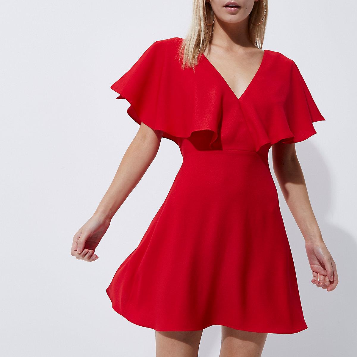 Petite red cape sleeve tea dress
