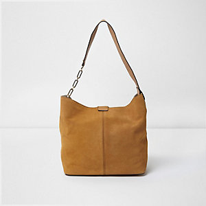 Tan suede underarm slouch chain bag