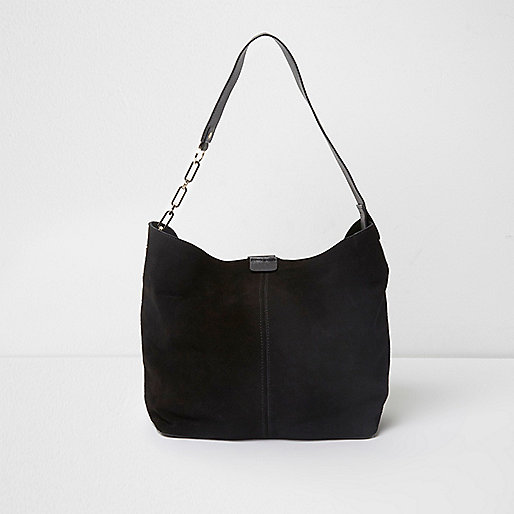 Black suede underarm slouch chain bag