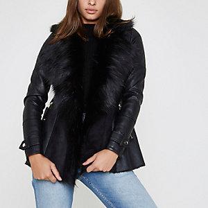 Black faux fur fallaway jacket