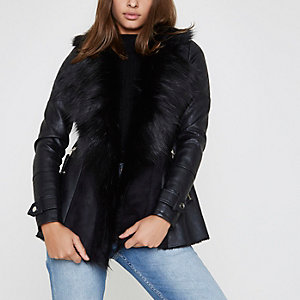 Black faux fur fallaway jacket