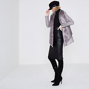 Grey faux suede fallaway jacket