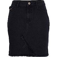 Jupe en jean noire à ourlet effiloché