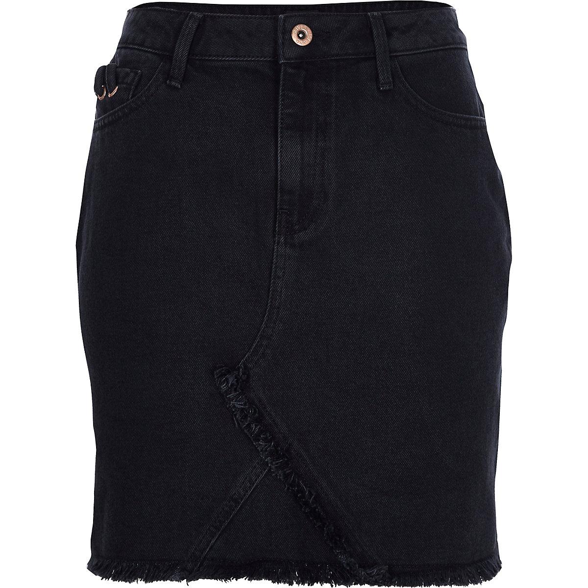 0c35e174b6c Black frayed hem denim skirt - Mini Skirts - Skirts - women