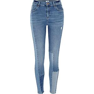 Amelie - Blauwe superskinny jeans met blokpanelen